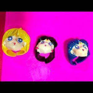 Sailor Moon, Sailor Mars, Sailor Mercury VTG Rings